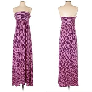 Size S Pink & Navy Chevron Maxi Skirt / Dress